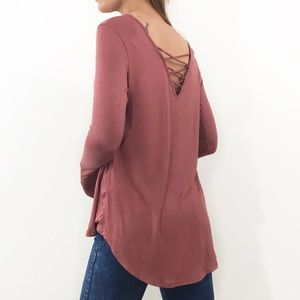 Tops - B2G1 FREE Pink loose fit criss cross back